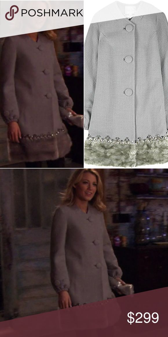 Rebecca Taylor fur trimmed gray coat 10 Hey upper east siders! For sale is a Rebecca Taylor slate gray coat with fur trim, size 10. Excellent used condition — light pilling throughout — see photos. Seen on Serena Van Der Woodsen in Gossip Girl episode 1x12: School Lies. Super hard to find! Check my other listings for more Serena and Gossip Girl items! Rebecca Taylor Jackets & Coats Pea Coats