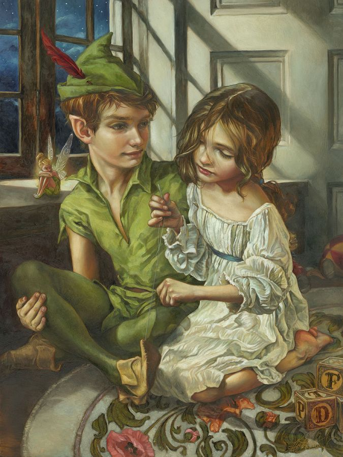 """""""Sewn to His Shadow"""" Peter Pan & Wendy by Artist Heather Theurer turns classic Disney movie moments into breathtaking scenes that are worthy of any museum."""