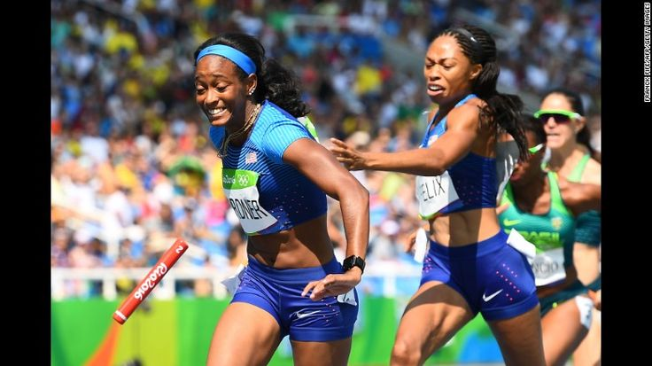 """The baton is dropped between Americans Allyson Felix and English Gardner, who were running a 4x100-meter relay at the Olympics on Thursday, August 18. An appeals process found that an opposing runner bumped Felix, and the team was able to run again and clinch a spot in the next day's final -- <a href=""""http://www.cnn.com/2016/08/19/sport/olympics-rio-2016-womens-4x100m-relay/"""" target=""""_blank"""">which it won.</a>"""