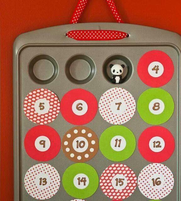 Muffin Pan Advent Calendar - can do with mini Iwako erasers: http://www.modes4u.com/japanese/iwako