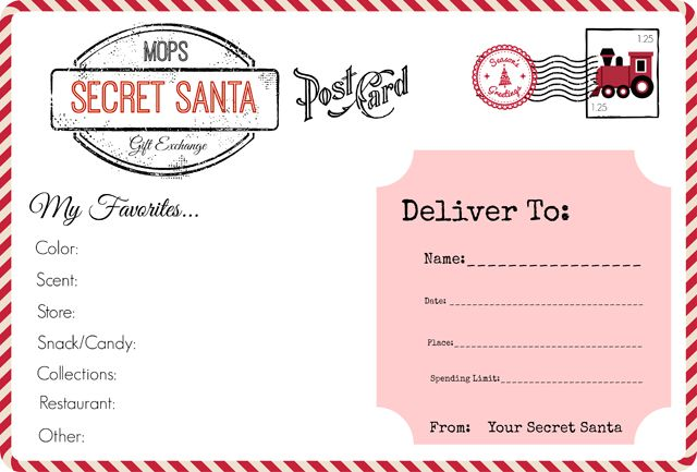 Our rules and an original sign-up form for a MOPS Secret Santa Gift Exchange.