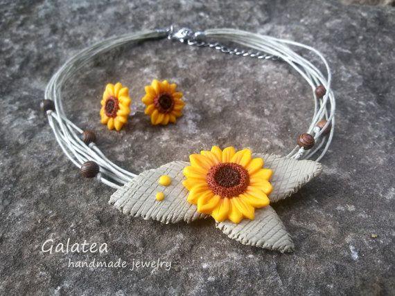 Rustic wedding jewelry Rustic Sunflowers jewelry by GalateaJewelry