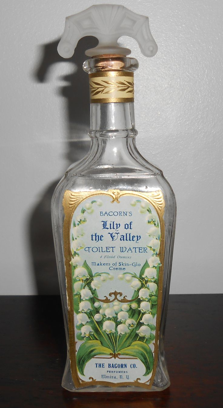 1915 Bacorn's Lily Of The Valley Toilet Water - Perfume Bottle - Elmira N.Y