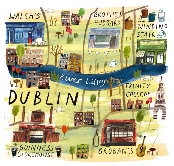 illustrated map for jamie mag out today! food  drink hotspots of dublin