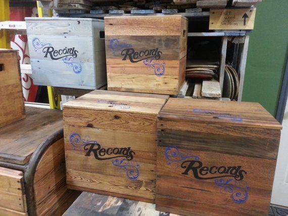 Vintage record storage boxs 100 recycled by DTfurnitureanddesign $55.00 & 148 best Vinyl Record Album Storage Ideas images on Pinterest | Lp ... Aboutintivar.Com