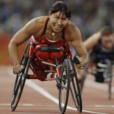 Chantal Petitclerc is a wheelchair racer and participated in the 2004 Paralympics winning 5 gold medals and breaking 3 world records (She set a world record in the women's 100m, 400m and 1,500m). In 2005 she was selected as Canadian Female Athlete of the Year for the Canadian Sports Awards. In 2008 Paralympic Games (Beijing) she won 5 gold medals and broke 3 world records. Overall, she won 22 medals. She was the first Paralympian to be voted Female Athlete of the Year by Canadian Press.