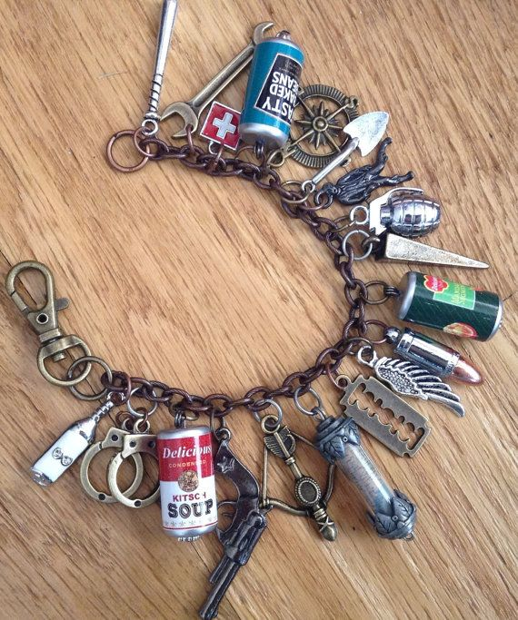 Zombie Apocalypse Charm Bracelet ZA310 by NormanJewelry on Etsy, $37.00 Walking Dead inspired.. Pretty cool!