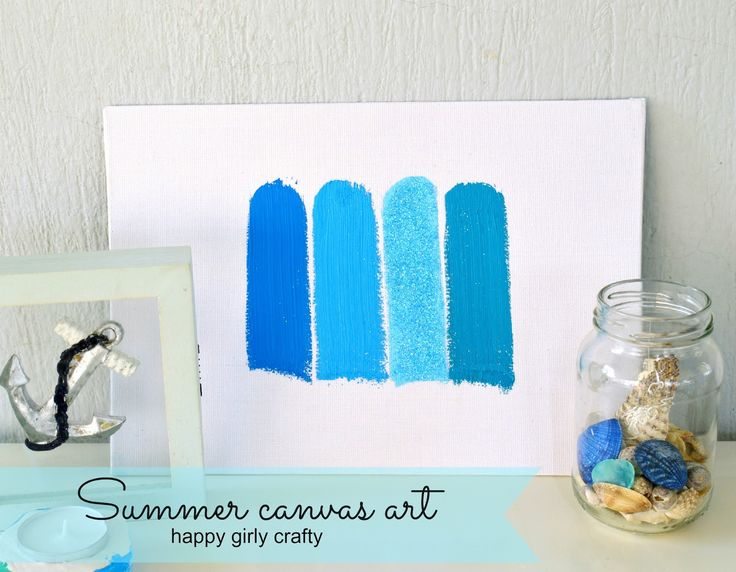 happy girly crafty: Summer striped canvas art DIY!