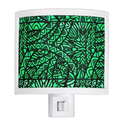 Watercolor Stained Glass Abstract Pattern Green Night Light - home gifts ideas decor special unique custom individual customized individualized