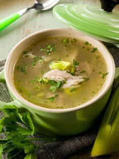 Soup Recipe: Chicken and Leek Soup........time consuming...but sounds and looks tasty