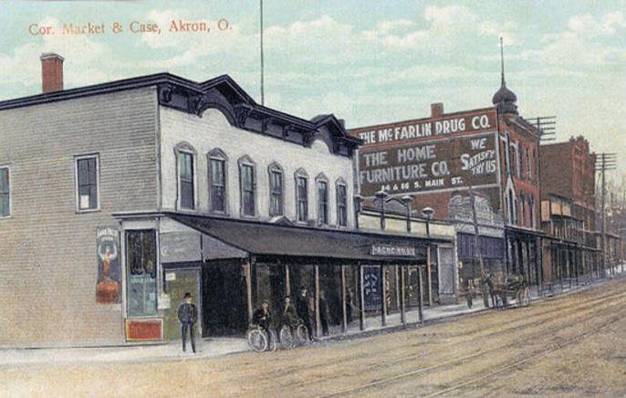 Turn Of The Century Acme Store At The Corner Of Case Ave And East Market Street Akron Ohio Ohio History Akron Ohio Akron
