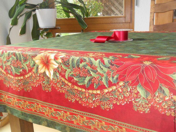 Купить Cкатерть на большой стол Новогодняя гирлянда 145х300 - завтрак, кантри, скатерть, разноцветный, ланчмат, ланчматы