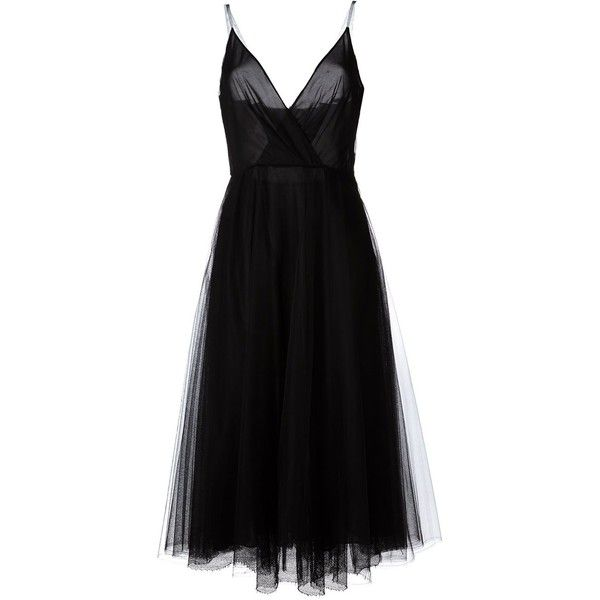 Valentino A-line tulle dress ($2,660) ❤ liked on Polyvore featuring dresses, valentino, vestidos, black, v neck cocktail dress, a line tulle dress, spaghetti strap dress, valentino dress and a line dress