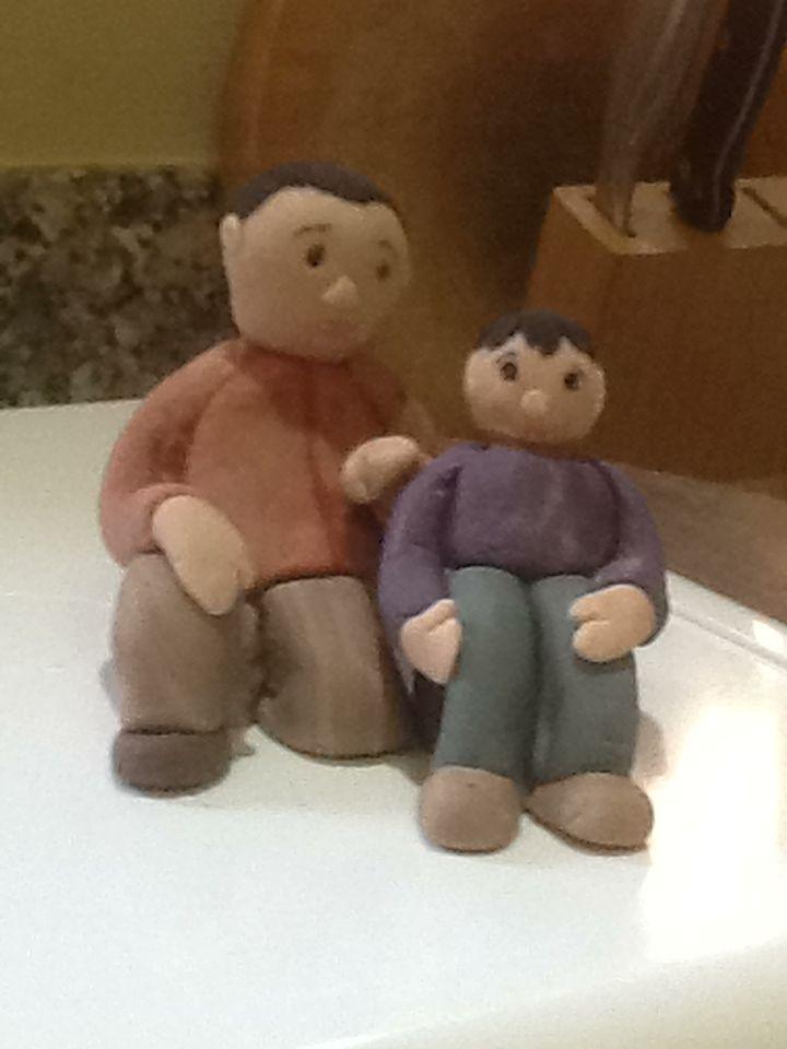 Fondant figures - Gary and Aiden - Adoption Cake.