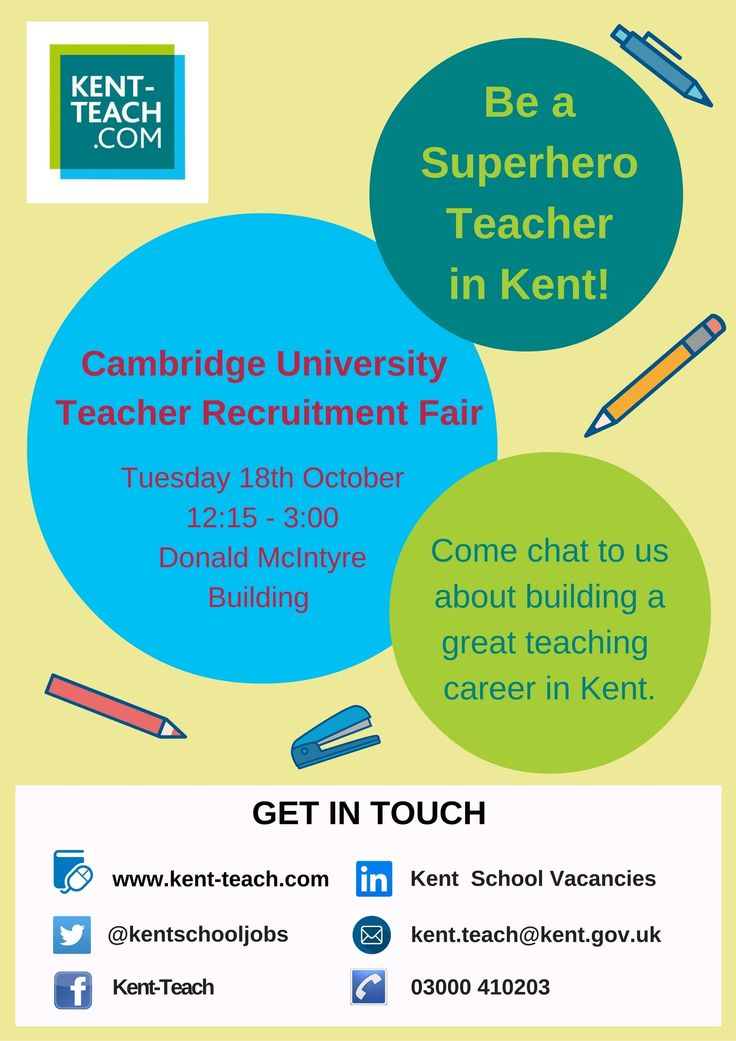 Kent-Teach will be at The University of Cambridge Teacher Recruitment Fair on 18th October to show you how Teaching in Kent can make you a superhero