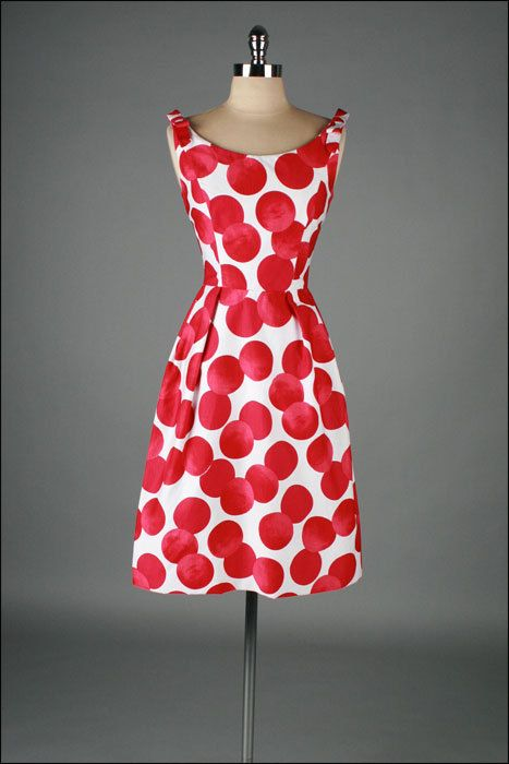 Vintage 1960s Dress TEAL TRAINA Polka Dot by millstreetvintage