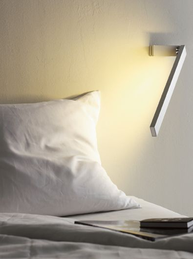 ":: LIGHTING :: anta germany | zac wall Wall lamp with lamp head which can be infinitely adjusted and rotated - in matte finish satin chrome, with warm white fluorescent tubes. The ideal lamp for reading in bed. The Zac wall lamp is available in 2 versions, with or without switch 1 x fluorescent tube T2 FM 11 W diameter 7 mm warm white. height: 16 cm / 6.3"" length: 60 cm / 23.62"" $878.00 