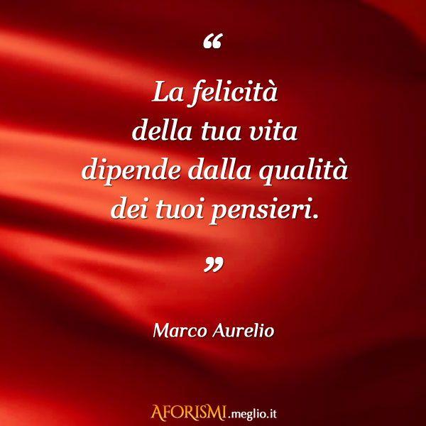 La felicità della tua vita dipende dalla qualità dei tuoi pensieri. (Marco Aurelio)