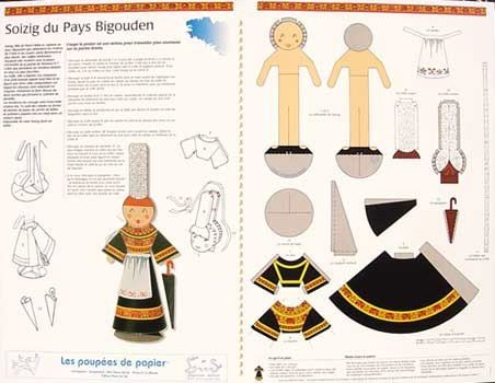 Soizig du pays Bigouden. Paper dress-the-doll set for the Bigouden area's costume.