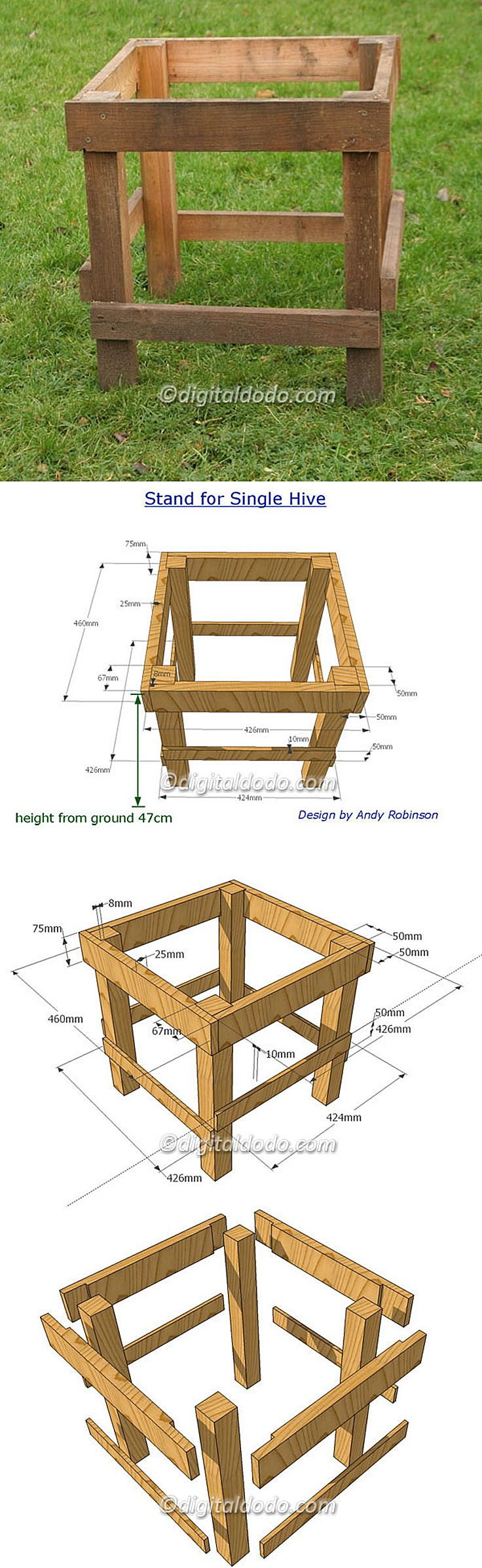 ❧ Beekeeping hive stand with dimensions
