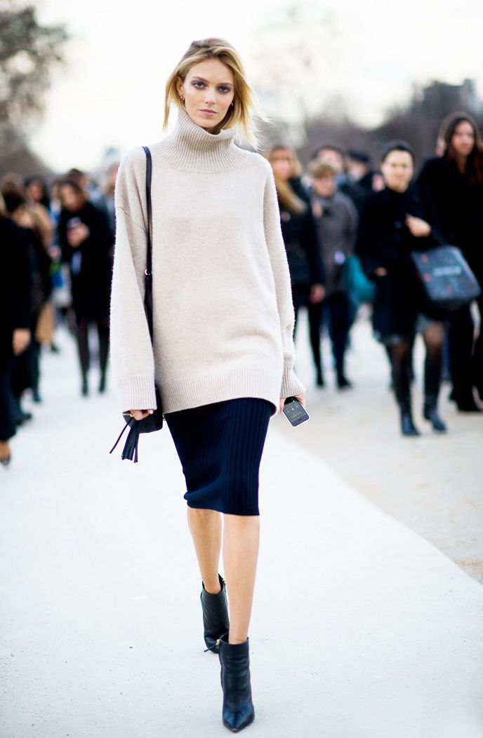 Turtleneck Sweaters with Pencil Skirt