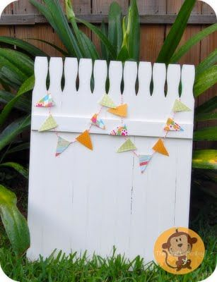"""Cute and simple paint stirrer """"picket fence"""".  Love the pennants from Craft Monkey."""