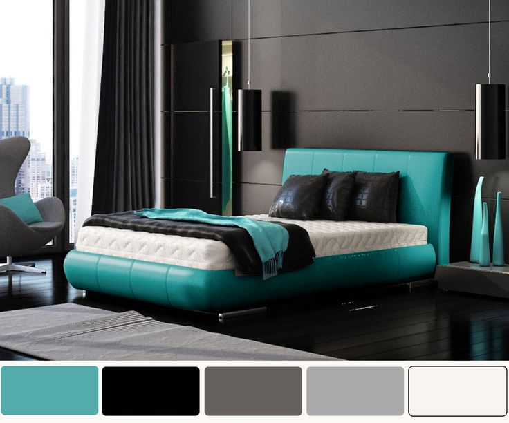 Bedroom| Delightful Turquoise Bedroom Interior And Decorating: Upholstered Master Size Low Profile Bed Frame With Grey Wall Color Painted In Modern Turquoise Bedroom