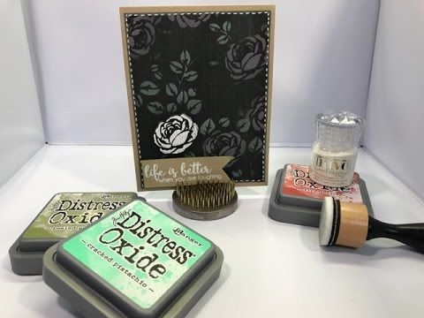 Tim Holtz Distress Oxide Inks and Embossing for a Crackle Effect - YouTube