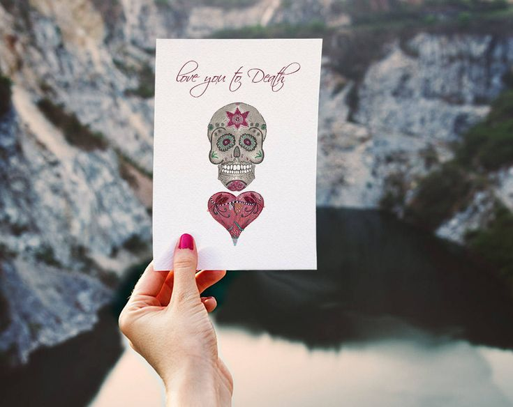 Skull and heart love card for him Valentine's card Card