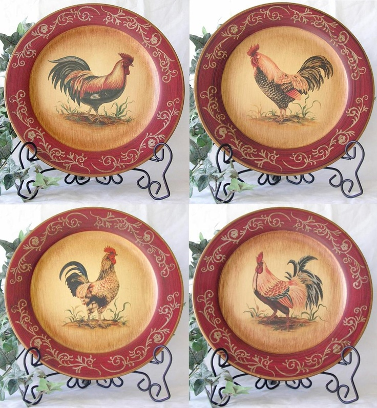 **FRENCH COUNTRY DECOR ROOSTER PLATES SET OF 4** Google Image Result for http://www.cypresshomedecor.com/images/_products/cypresshomedecor/RI96758cd.jpg