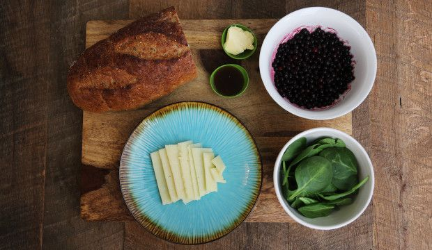 Blueberry grilled cheese with spinach, Manchego cheese  and balsamic, via The New Potato