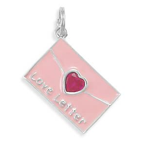Pink Love Letter Charm with Red Heart by jewelrymandave on Etsy, $24.19