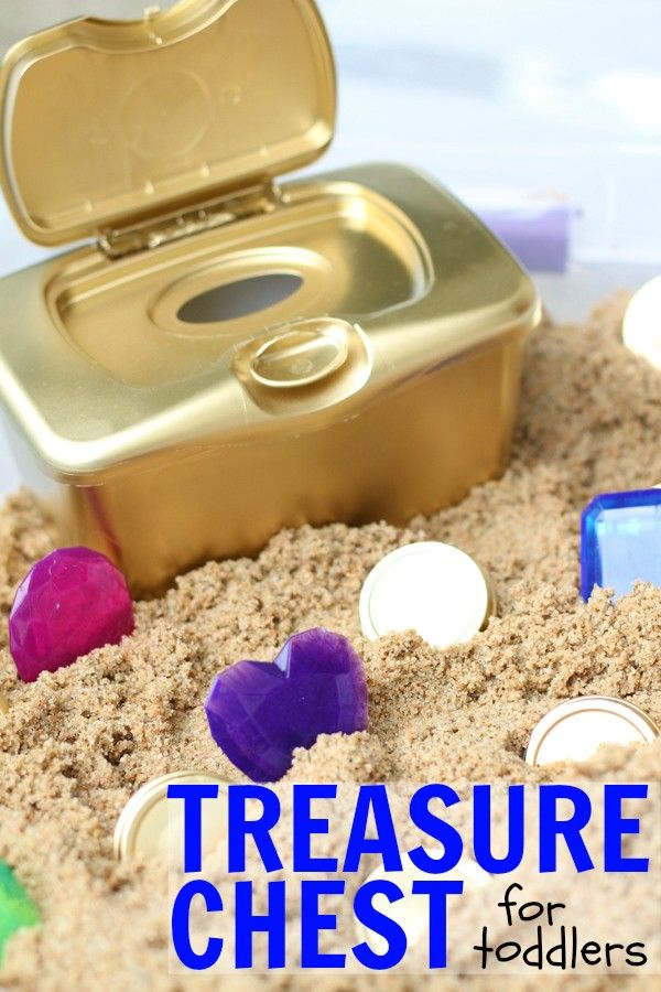 DIY Treasure Chest for Toddlers:  Such a fun sensory activity for toddlers that promotes fine motor control and hand-eye coordination!