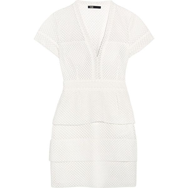 Maje Embroidered cotton and silk-blend tulle mini dress ($200) ❤ liked on Polyvore featuring dresses, ecru, fitted dresses, short tulle dress, white loose dress, short fitted dresses and white peplum dress