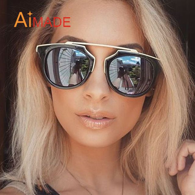 Aimade Fashion Vintage Cat Eye Sunglasses Women Brand Mirror Sun Glasses Unique Retro Metal Female Shades Coating Lens Oculos