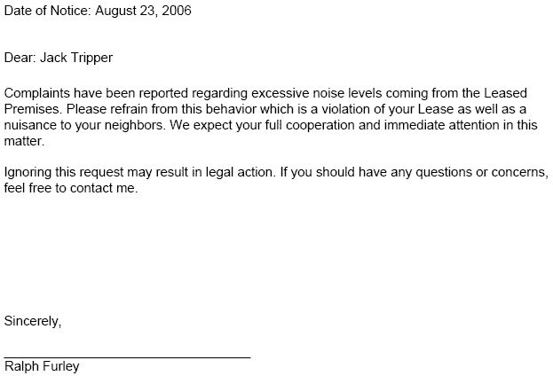 Lease Violation Notice     Tenant