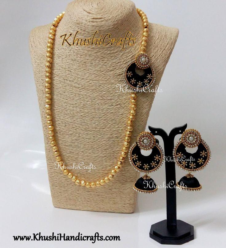 Black Silk Thread Moppu Designer Necklace set