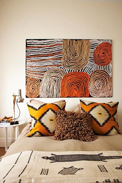 Aboriginal artwork hanging in the bedroom.