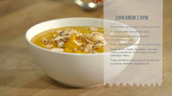 Przepis na kremową zupę z dyni z płatkami migdałowymi