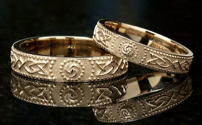 Celtic warrior shield wedding bands - Celtic women were fierce warriors in their own right and were also known to go to battle with their husbands. They would stand back to back, fighting as one unit and protecting the other.