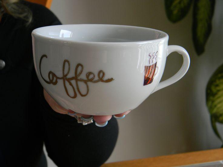 "Coffee cup, ""Coffee, Café"", handmade. 5$ at www.nancy-cie.com"