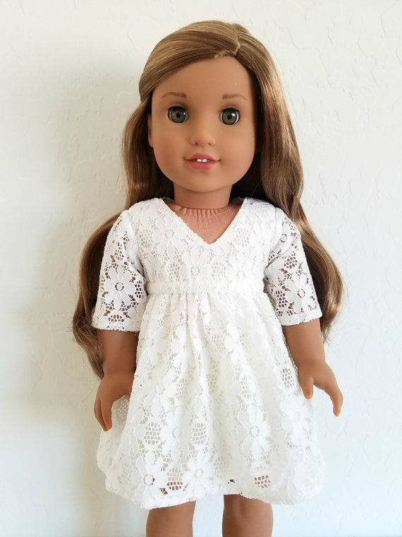 White Lace Dress for American Girl Dolls by BuzzinBea on Etsy