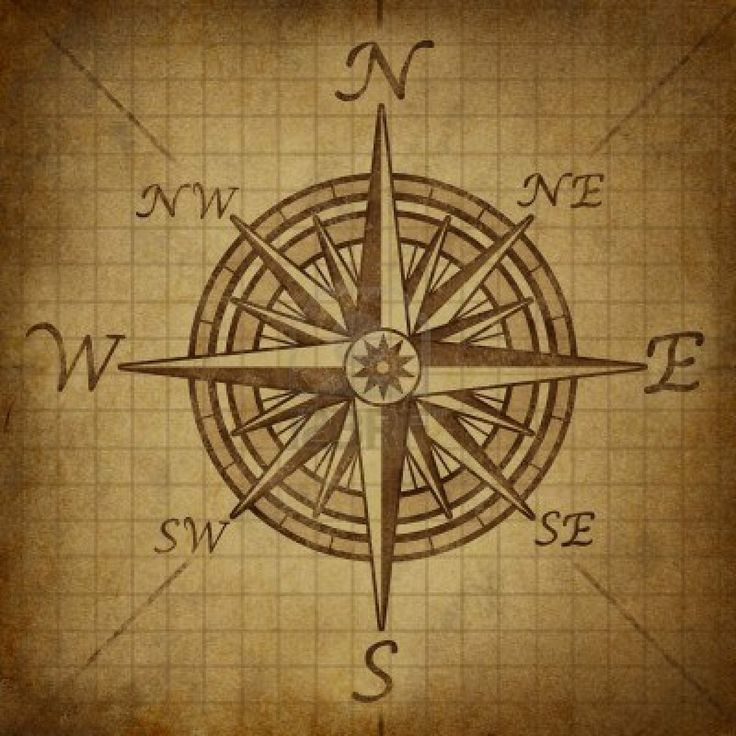 Compass rose with old vintage grunge texture representing a cartography positioning direction symbol for navigation and setting a chart for exploration to the north south east or west. Stock Photo