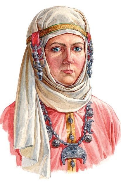 Russian woman in a head-wear with temple pendants (kolty) and in a nice necklace. Late 10th – early 11th century. Reconstruction of the wearing style according to the archaeological data. #medieval #Russian #history