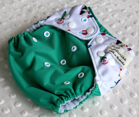 One-size-fits-most cloth nappy- Space Robots. $18.00, via Etsy.