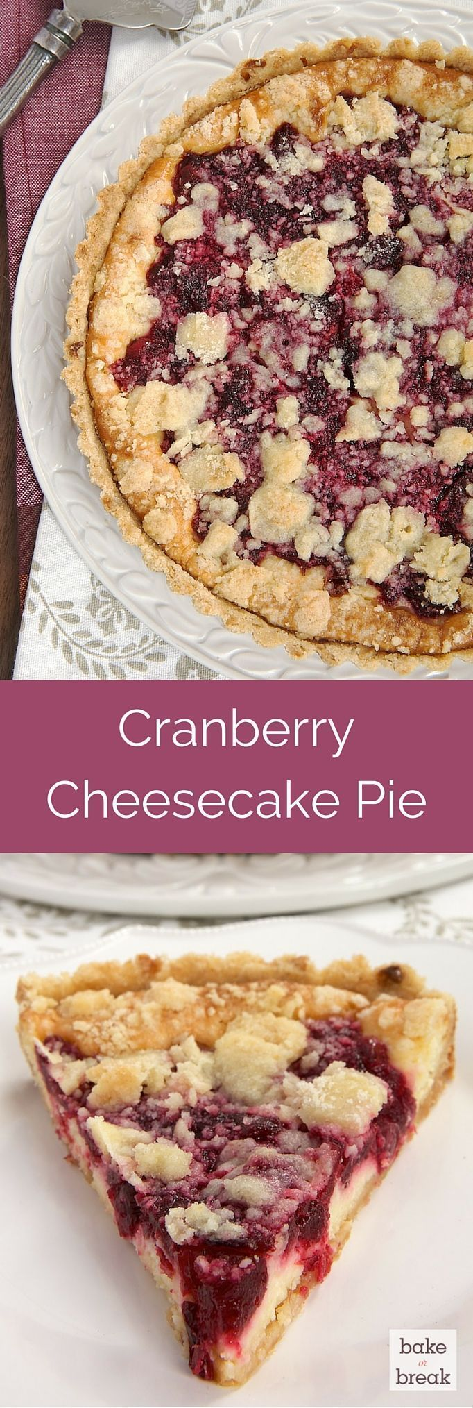 A buttery crust, sweet cheesecake, tart cranberries, and a crumb topping make this Cranberry Cheesecake Pie irresistible! ~ http://www.bakeorbreak.com