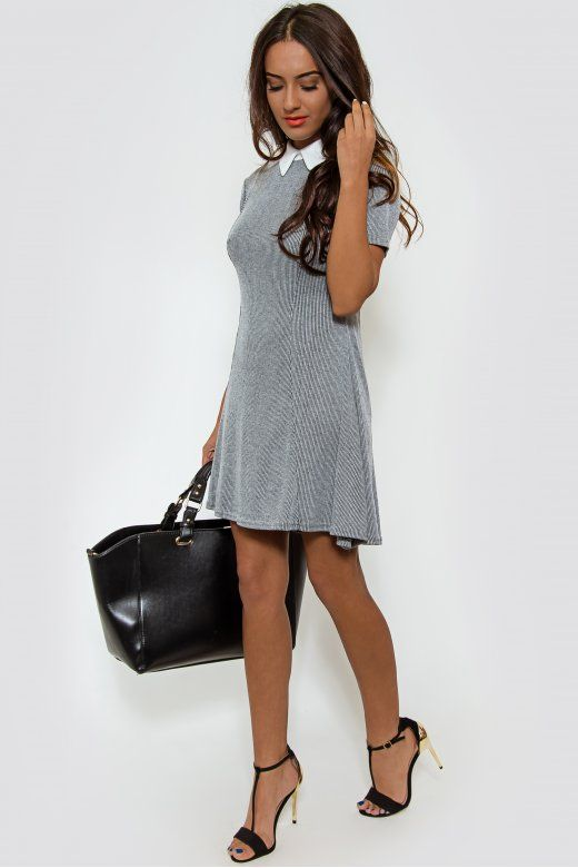 Alena Grey Skater Dress