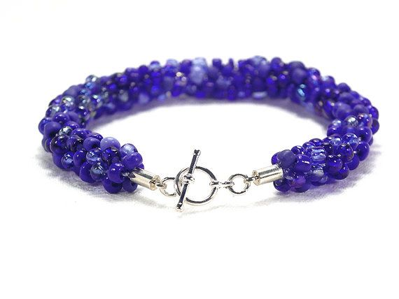 Blue beaded Kumihimo bracelet with silver-plated toggle clasp by FfigysDesigns