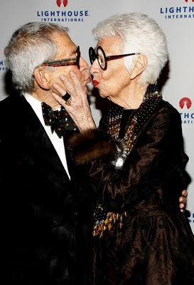 Iris Apfel and her husband Carl whom she also dresses