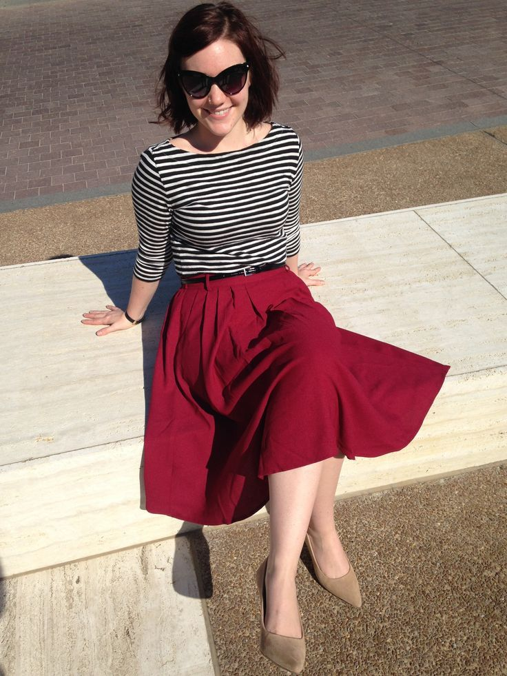 striped top and red skirt // outfits for church // fall outfits for women